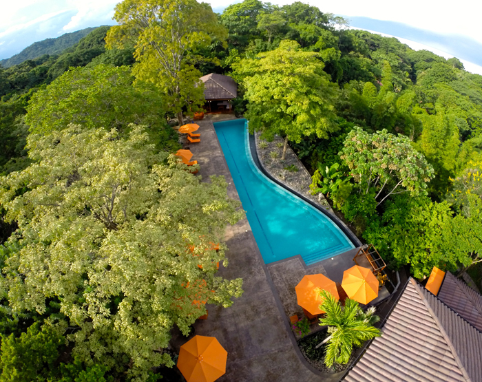Aerial view of the Bodhi Tree pool.