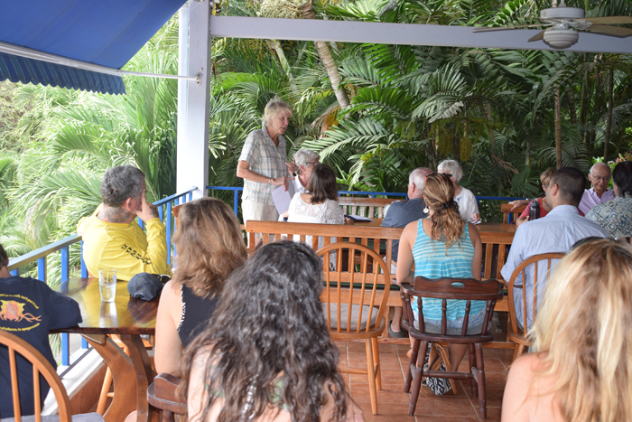 Bobbi Johnson, town leader and environmental activist, addresses the annual meeting of Friends of Nosara at Marlin Bill's.
