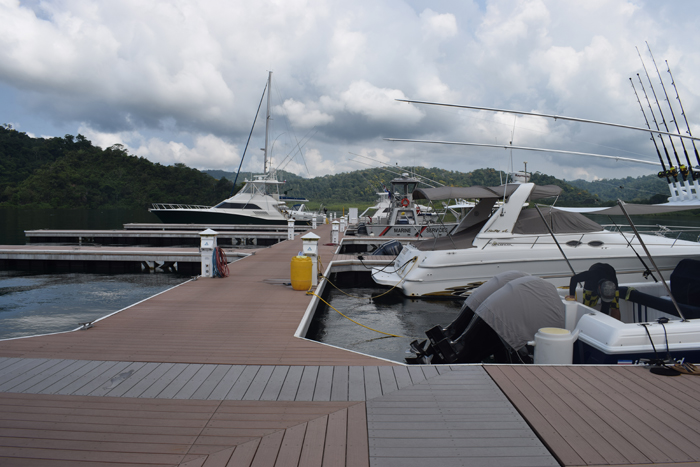 Yachts docked at Golfito Marina Village.