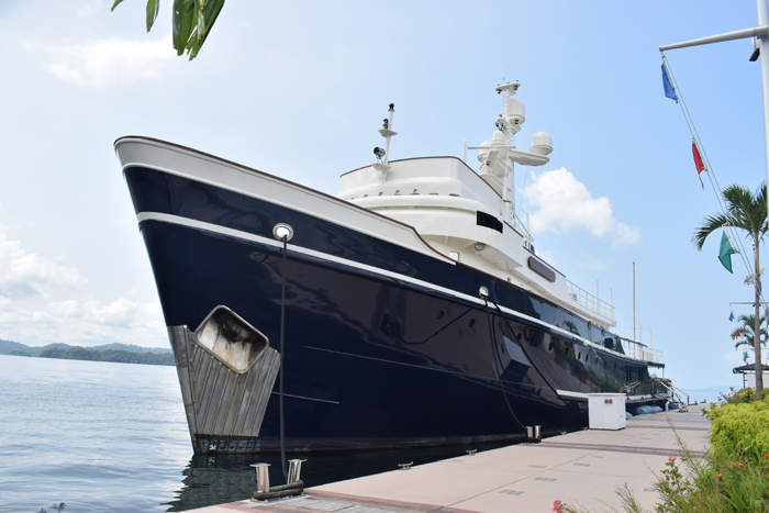 Big yacht docked at the new Golfito marina.