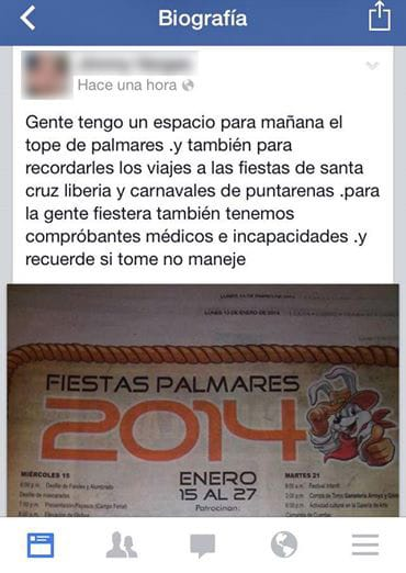 Facebook post offering fake Caja notices