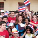 Costa Rican President Laura Chinchilla votes in Desamparados