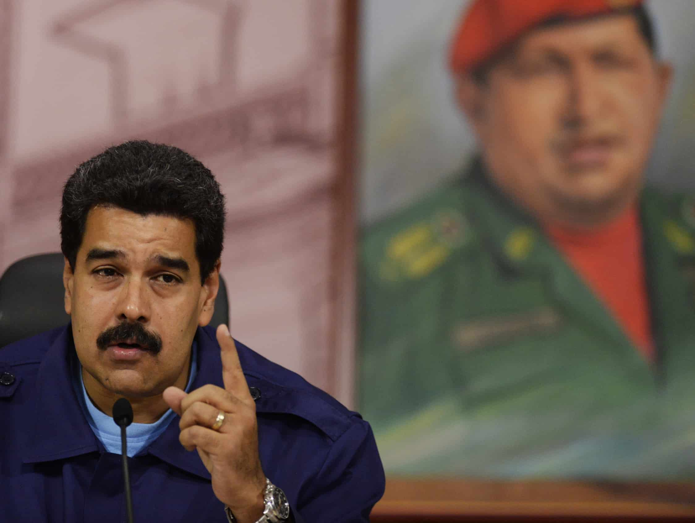 Venezuelan President Nicolás Maduro speaks during a press conference.