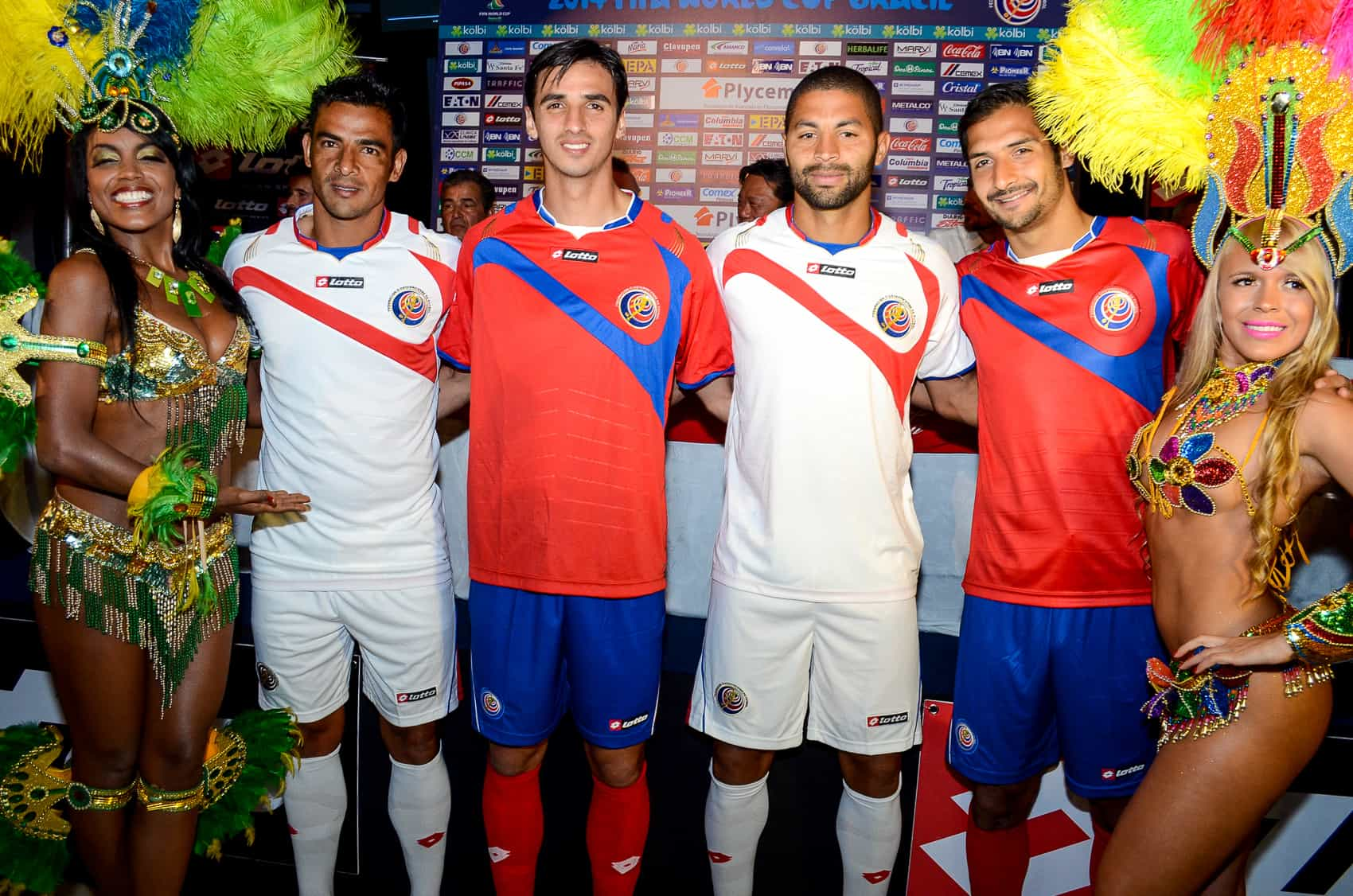 f95bf7008 Costa Rica and team sponsor Lotto revealed the national men s team uniforms  for the 2014 World Cup in Brazil. The presentation took place Monday  evening at ...