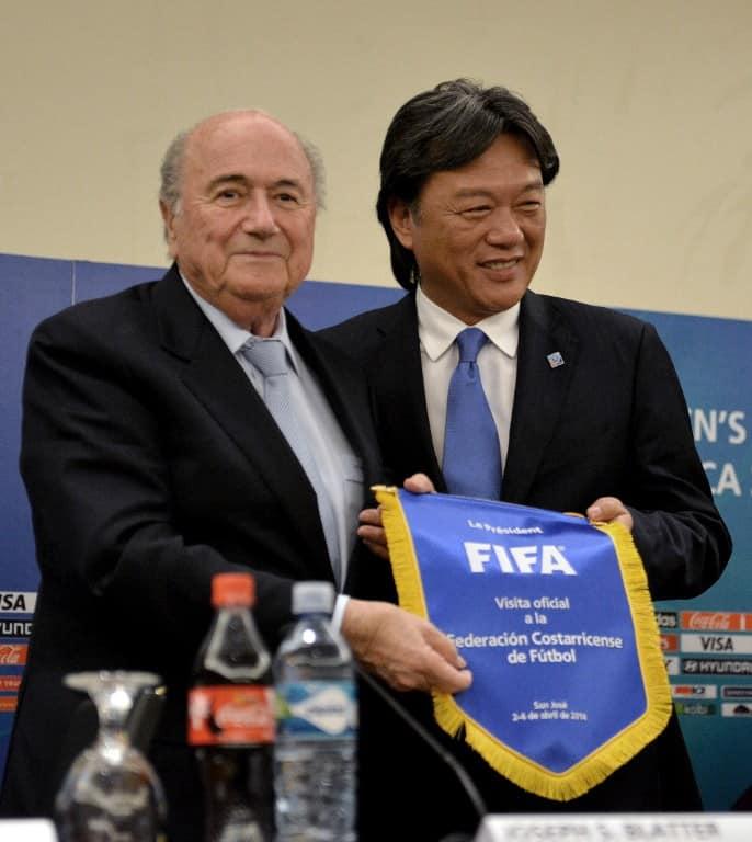 FIFA ex-President Joseph Sepp Blatter and Costa Rica's Eduardo Li