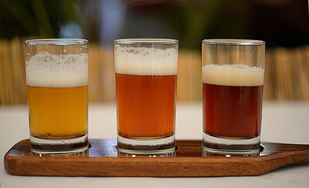 Three shades of beer from La Selva Brewery.