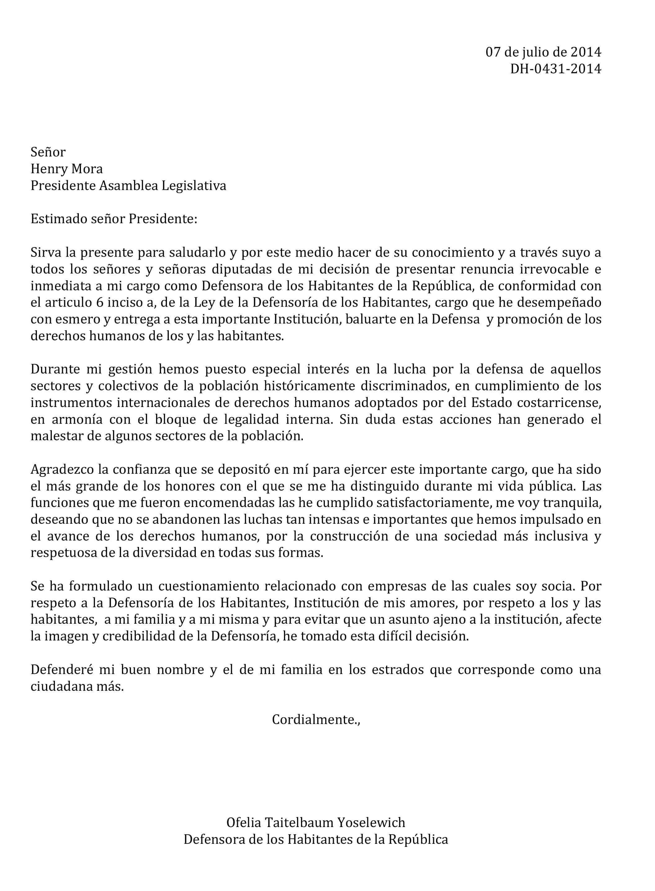 Ofelia Taitelbaum resignation