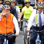 UN secretary-general hops on a bike to promote urban cycling