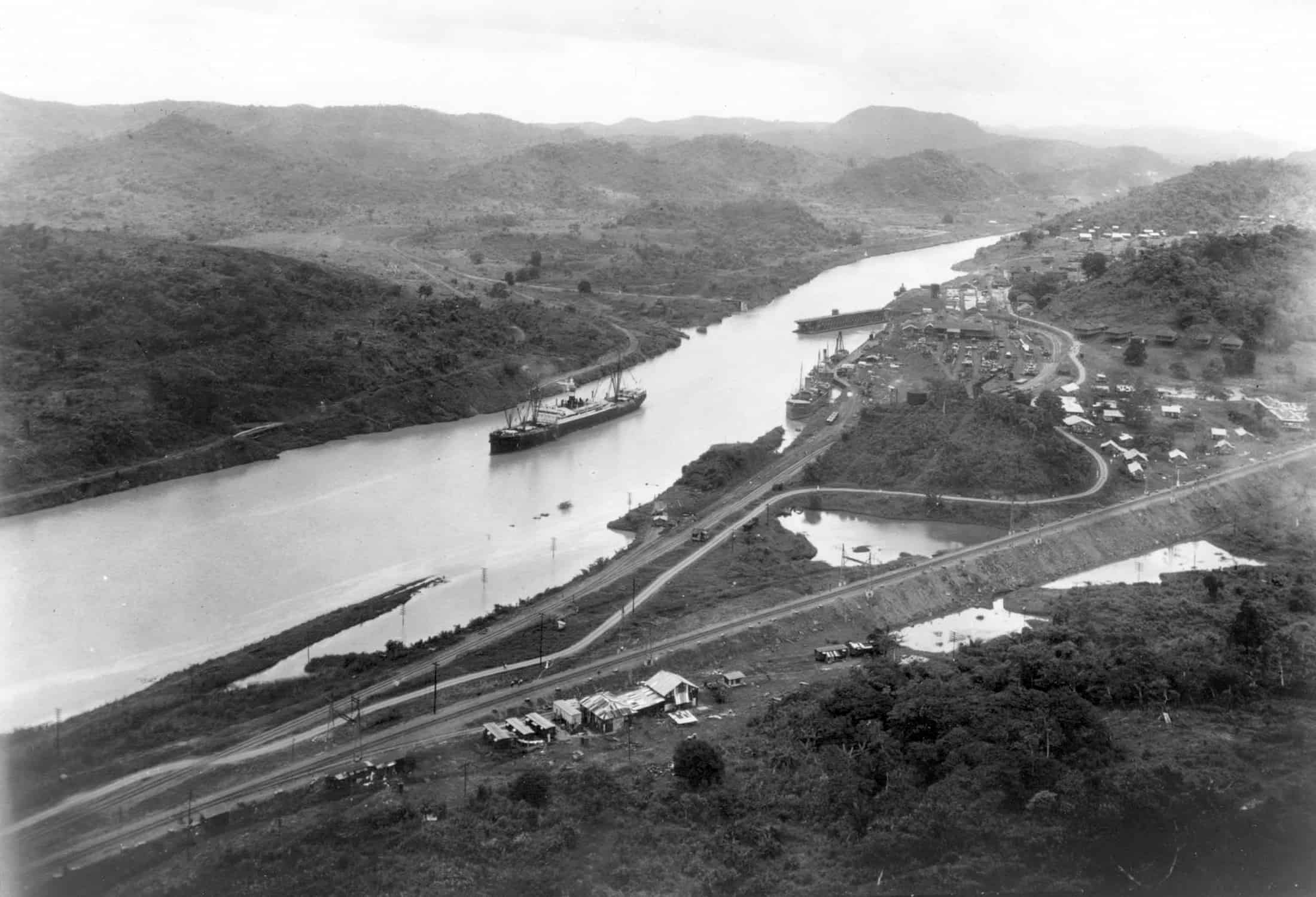 This August 15 1914 File Photo Shows The New York Registered Ss Ancon Crossing Culebra Cut Of Panama C On Opening Day As Seen From Cerro Luisa