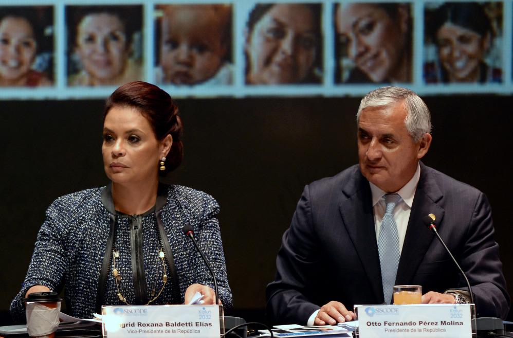 Guatemalan President Otto Pérez Molina, right, and then-Vice President Roxana Baldetti.
