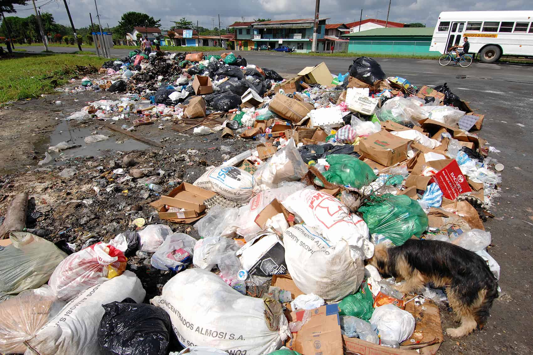Trash piled in the streets in the eastern province of Limón.