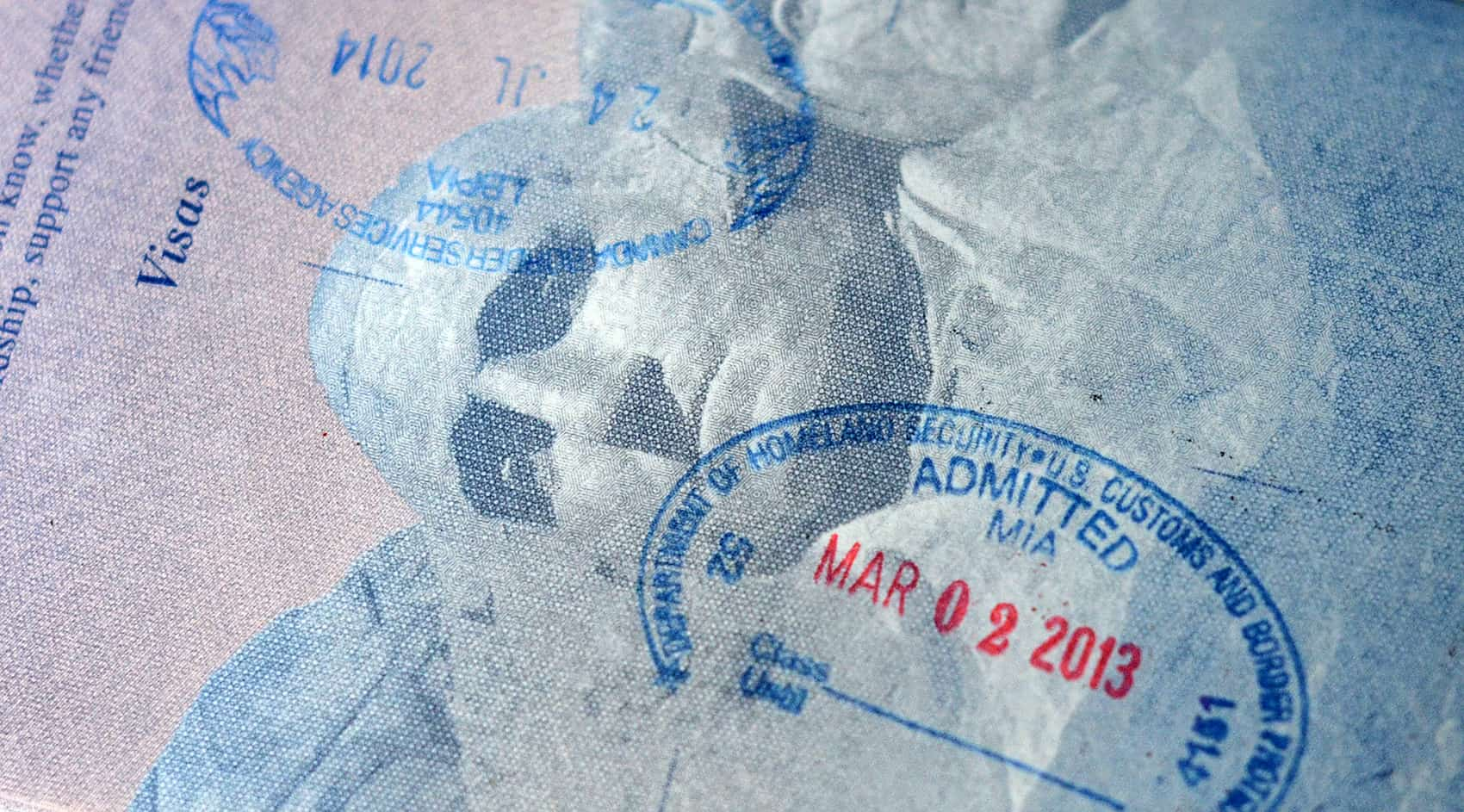A passport stamp allowing entrance into the United States.