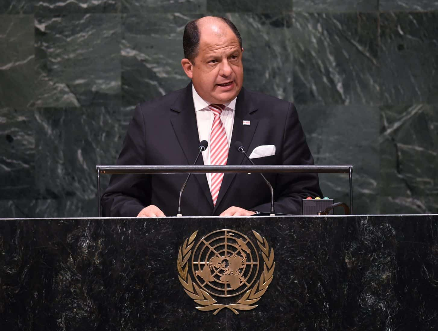 Costa Rican President Luis Guillermo Solís addresses the 69th session of the United Nations General Assembly.