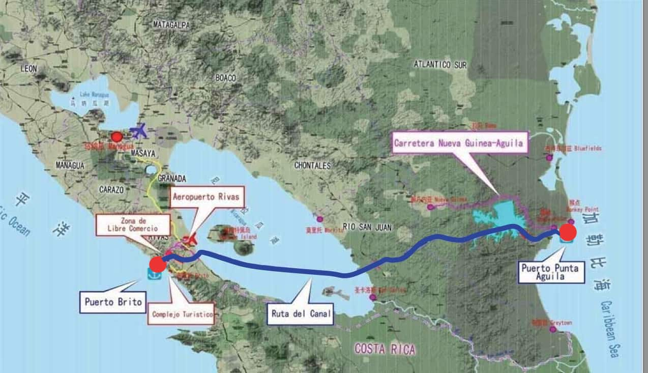 A map of Nicaragua's proposed transoceanic canal.