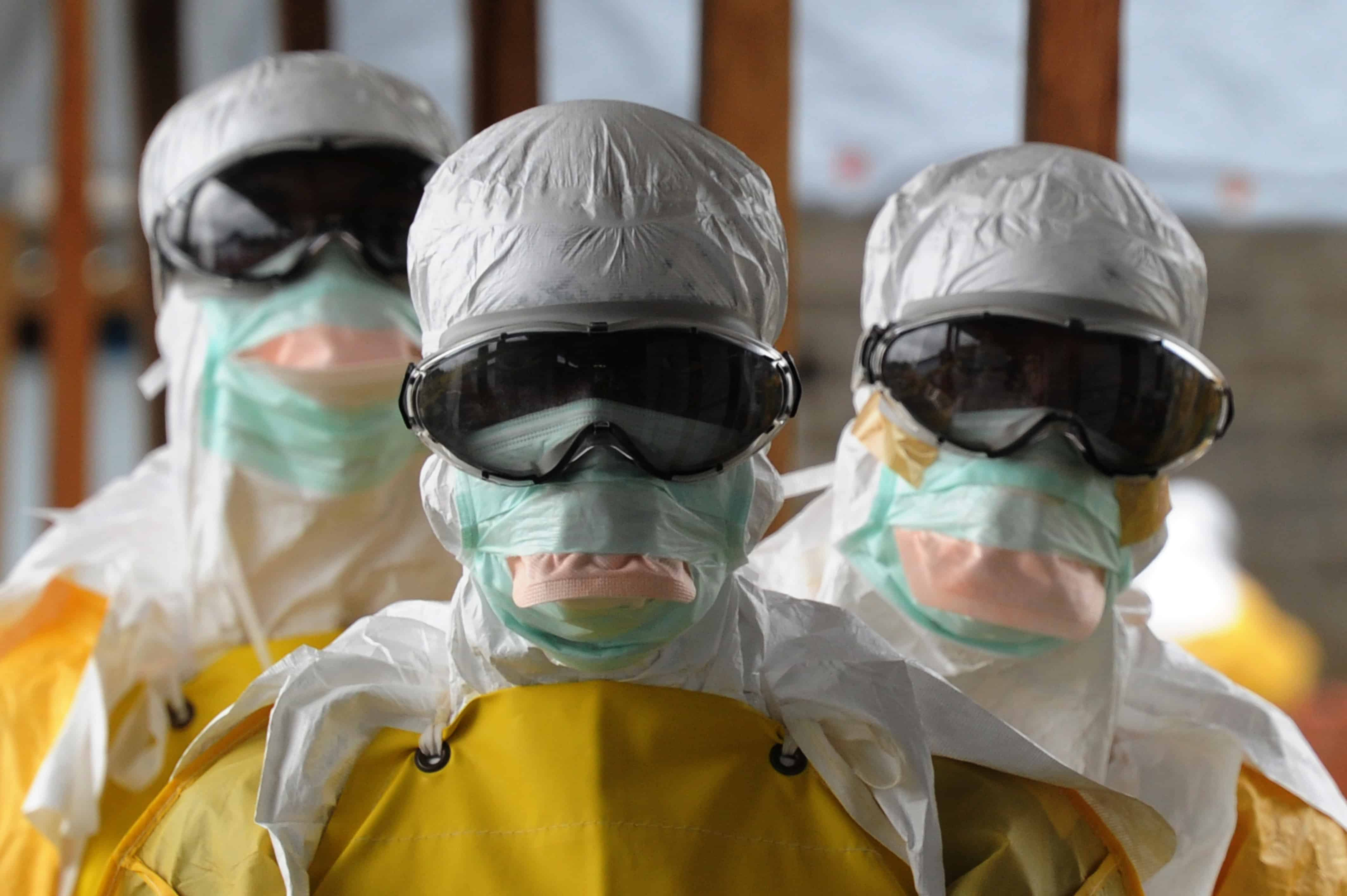 Health Care Workers Wearing Protective Suits Leave A High Risk Area At The French NGO Medecins Sans Frontieres Doctors Without Borders Elwa Hospital On
