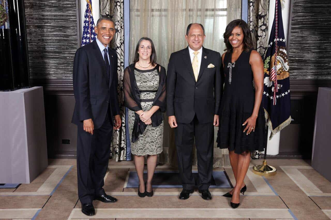 U.S. President Barack Obama, Costa Rican First Lady Mercedes Peñas, Costa Rican President Luis Guillermo Solís and U.S. first lady Michelle Obama meet for the first time during a reception hosted by Obama for world leaders at the Waldorf Astoria Hotel in New York on Sept. 23, 2014.