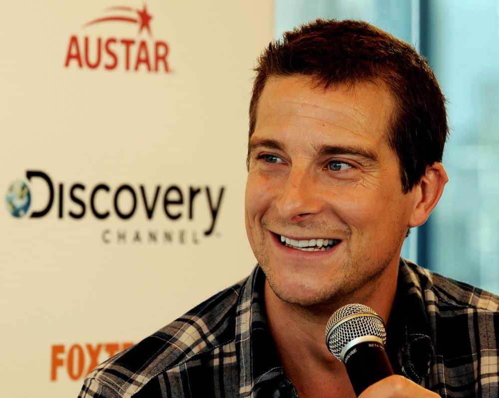 "Bear Grylls, star of the hit adventure and survival series ""Man vs. Wild,"" speaks during a press conference in Sydney, Australia, on March 4, 2011."