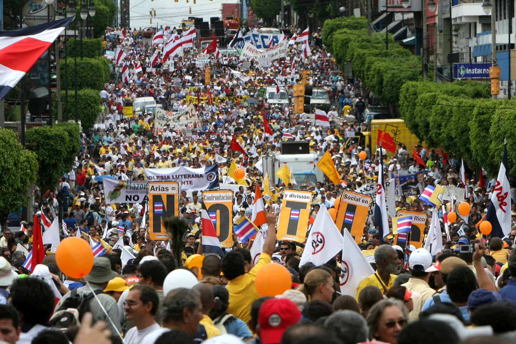 A protest against CAFTA in San José, on Oct. 24, 2006.