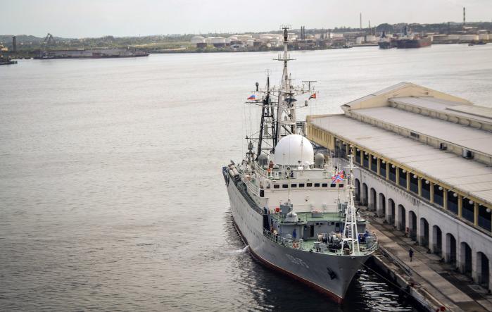 A Russian intelligence warship docks at the port of Havana, Cuba.