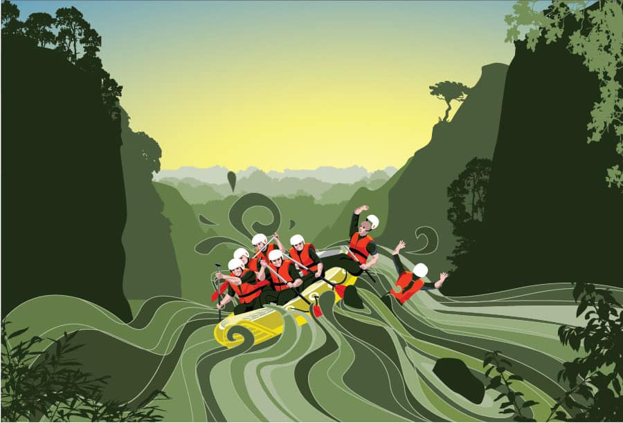 Graphic illustration of a rafting trip