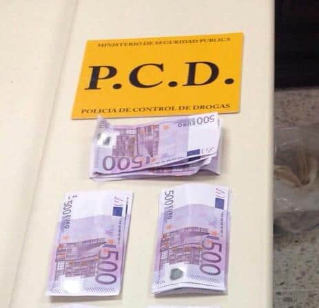 Euros confiscated from two Dutch women suspected of trying to smuggle cash into the country, Feb. 20, 2015.