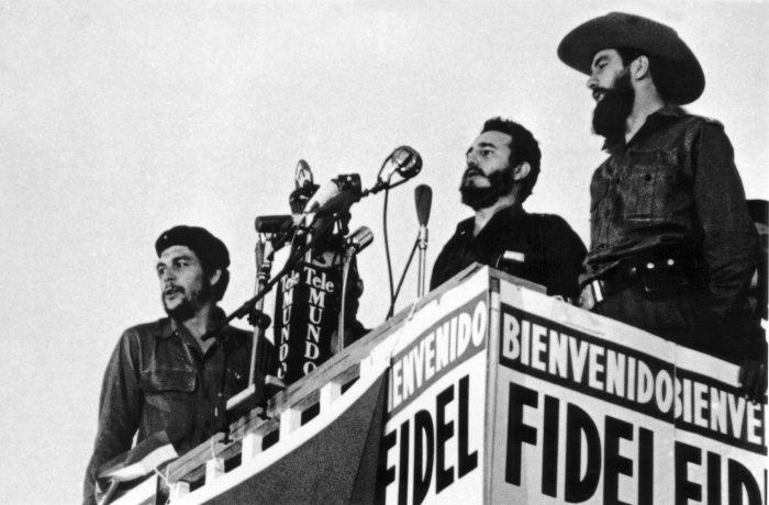 """Cuba's Fidel Castro, Camilo Cienfuegos and Ernesto """"Che"""" Guevara in 1959 in Havana."""