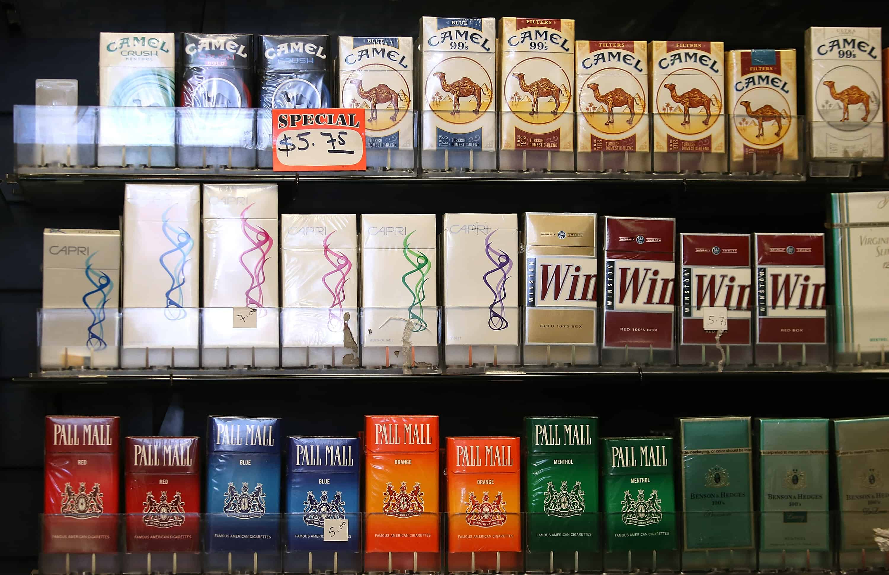 Cigarettes manufactured by Reynolds American in a San Francisco shop.