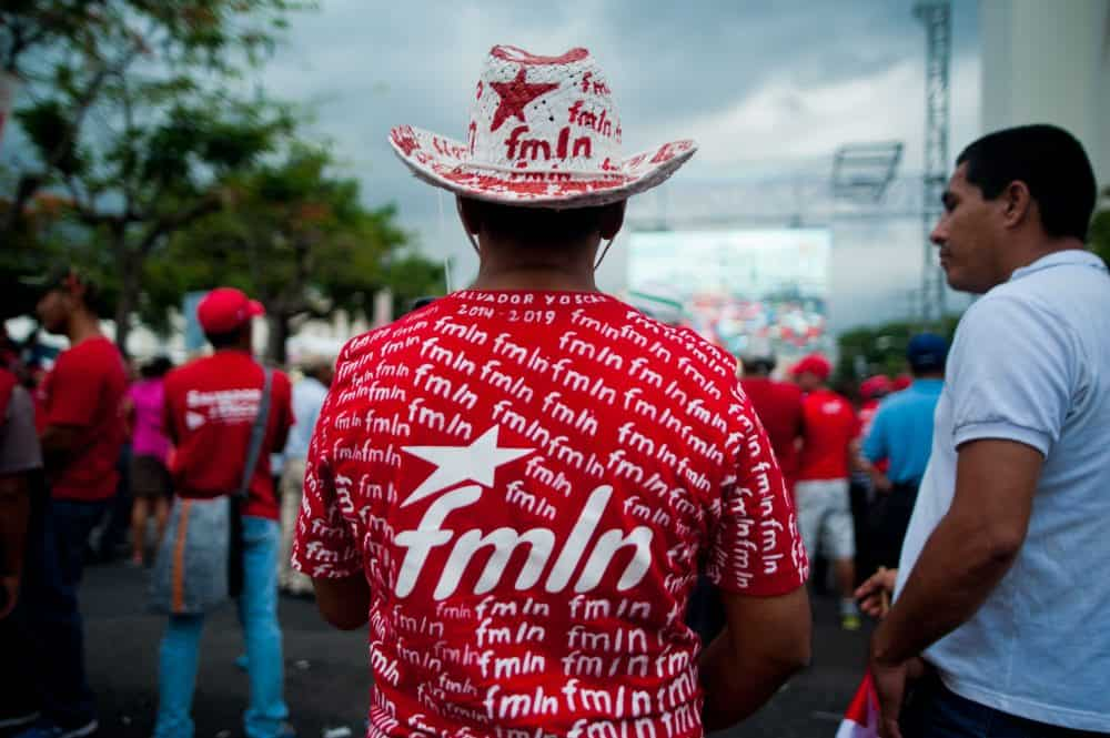 Supporters of the Farabundo Marti National Liberation Front at a celebration in downtown San Salvador June 1, 2014, the day President Salvador Sánchez Cerén (FMLN) was sworn in.