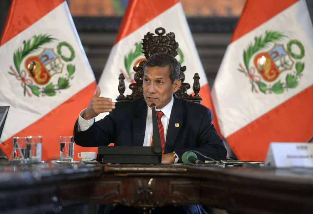 Peruvian President Ollanta Humala speaks during a press conference with the foreign press, in his office at the presidential palace in Lima on March 2, 2015.