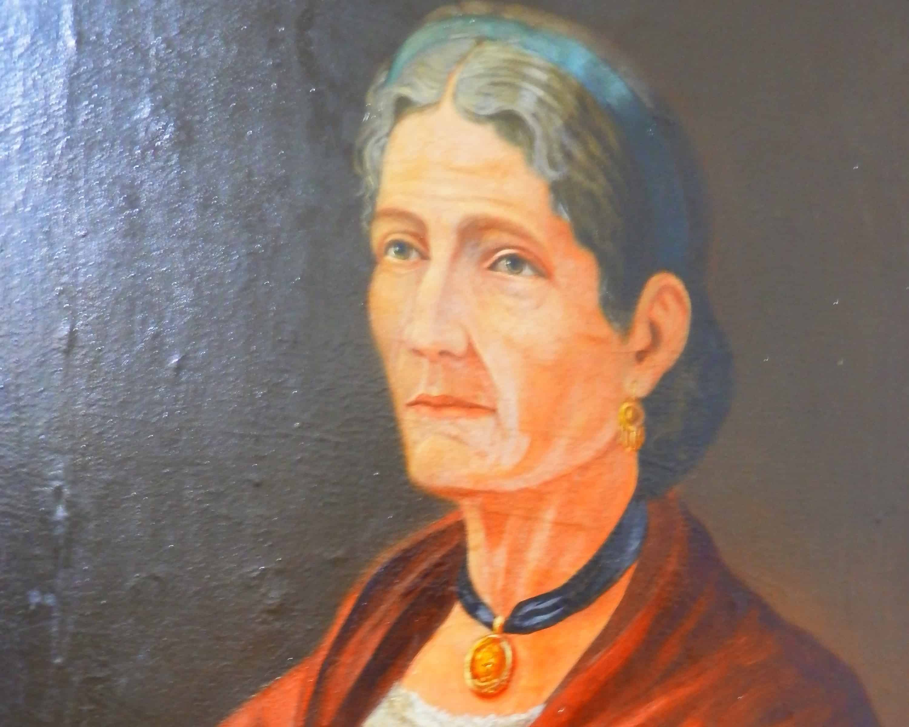 A portrait of Francisca 'Pancha' Carrasco. Born in 1816 in Taras de Cartago, she broke the rules for girls by learning to read, write and ride a horse. In public demonstrations against dictator Francisco Morazán in the 1840s Pancha led a mounted female brigade through the streets urging the public to oust this intruder from Honduras.