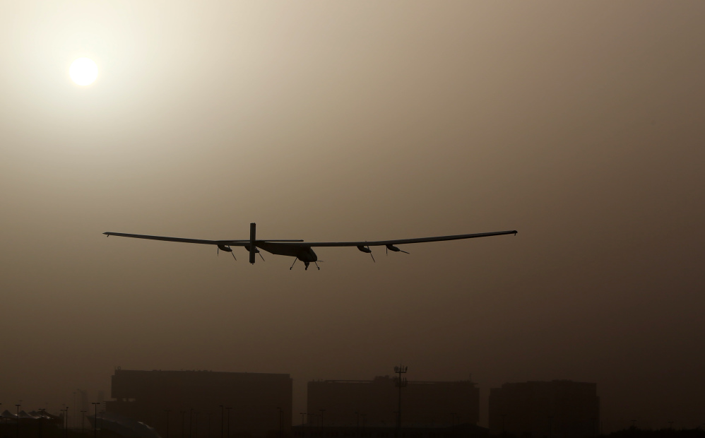 The Solar Impulse 2, takes off from al-Bateen airport in Abu Dhabi as it heads to Muscat, on March 9, 2015, in the first attempt to fly around the world in a plane using solar energy.