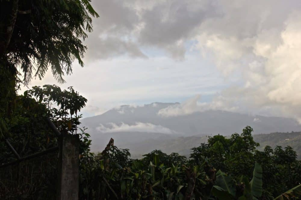 The volcano dominates the horizon, as viewed from William Allen Taylor Hospital in downtown Turrialba, March 14, 2015.