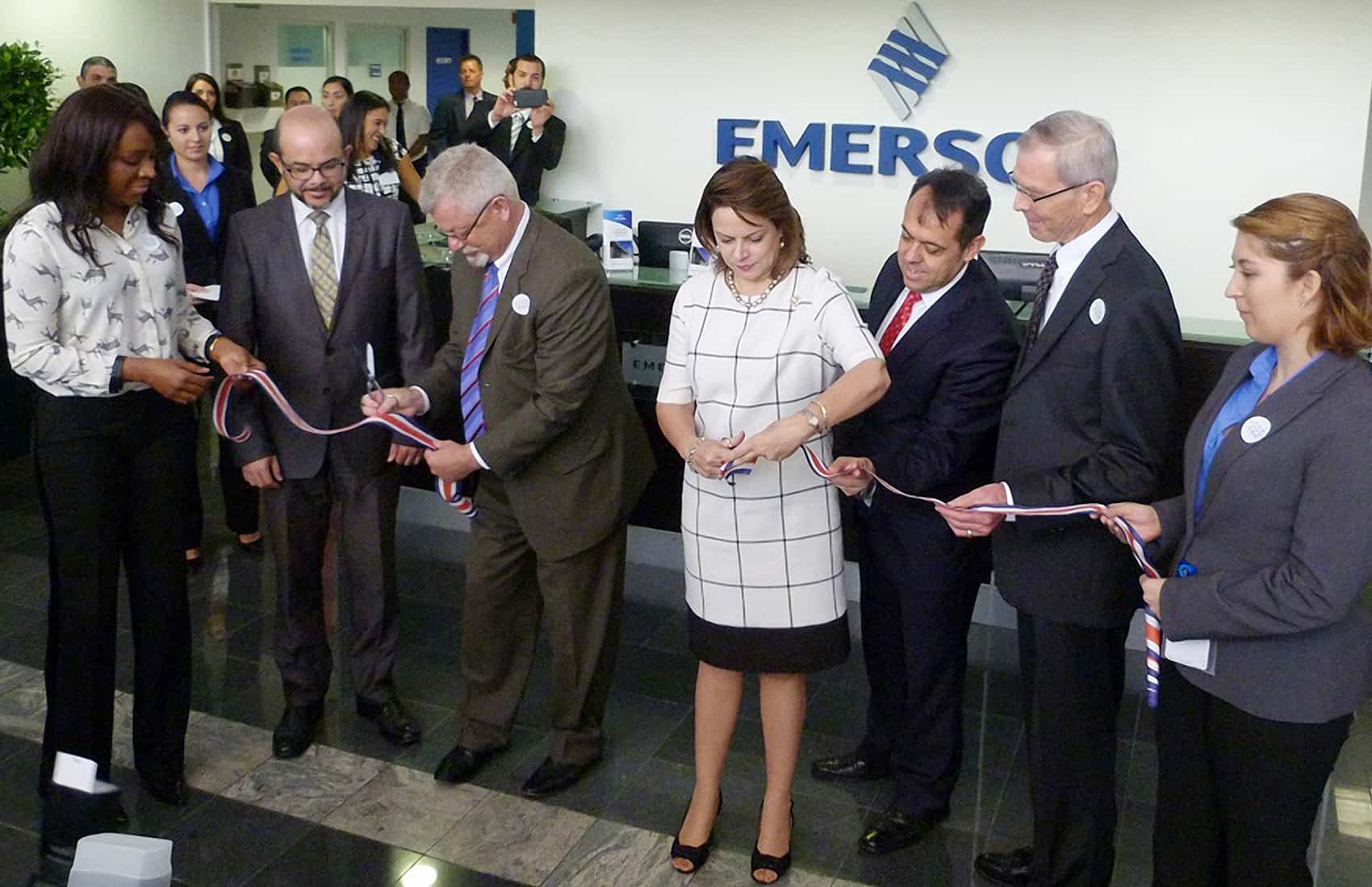 Vice President Ana Helena Chacón Echeverría attends the opening ceremony of Emerson's new facilities in Escazú, southwest of the capital San José.