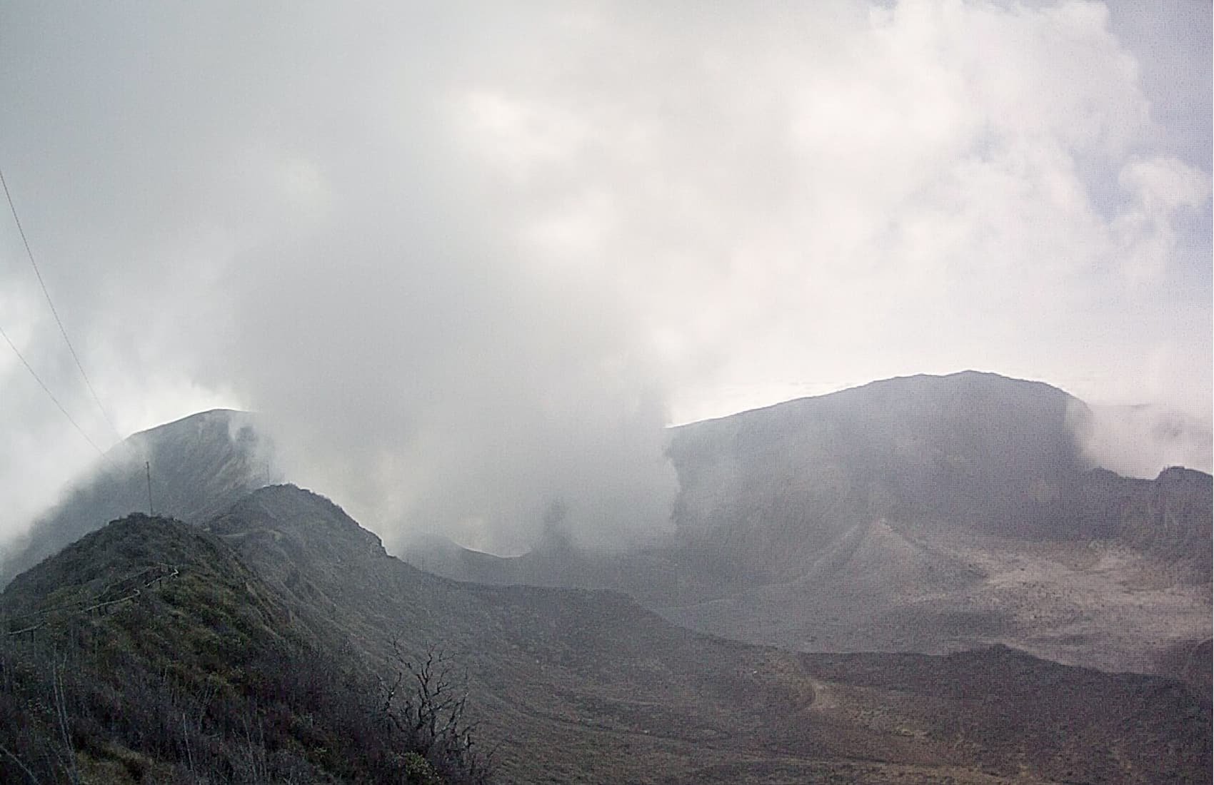 Vapor and ash columns were visible coming out of the Turrialba Volcano's crater at 4:43 p.m. on March 19, 2015.