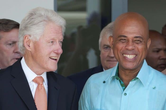 Former U.S. President Bill Clinton, left, and Haitian President Michel Martelly attend the opening ceremony of the Marriott hotel in Port-au-Prince.