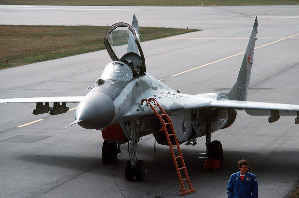 View of a Russian MiG-29 fighter parked on the ramp after a demonstration flight for attendees at the Abbotsford Air Show, July 1, 1989.