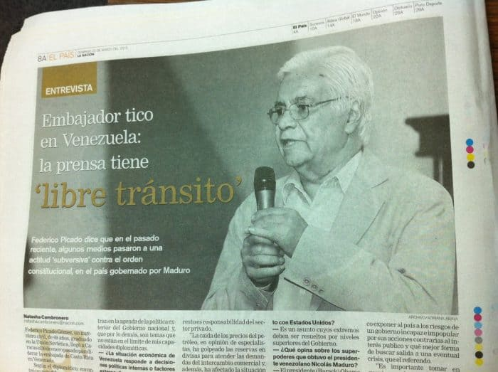 Photo of the image of Federico Picado Gómez, Costa Rican ambassador to Venezuela, in La Nación edition of March 22, 2015