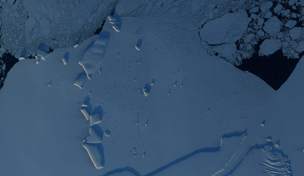 The East Antarctic coastline as seen from space.