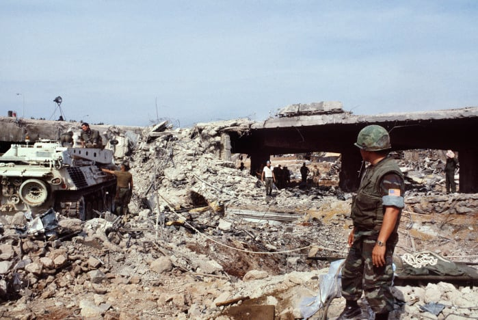 U.S. Marines search for bombing victims after a terrorist attack against the headquarters of U.S. troops that killed 241 U.S. soldiers on Oct. 23, 1983 in Beirut.