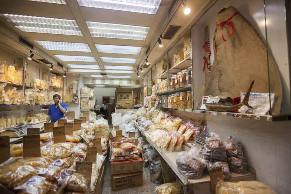 A general view of Yue Hing Shark's Fin & Marine Products Co., Ltd's store in Hong Kong's dried seafood district of Sheung Wan, Hong Kong, China, March 21, 2015. Marine conservation groups in Costa Rica allege that two shipments of hammerhead shark fins were illegally exported to the company in December 2014.