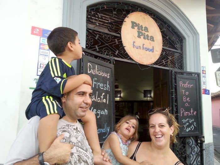 The Tzafar family in front of Pita Pita in Granada, Nicaragua.