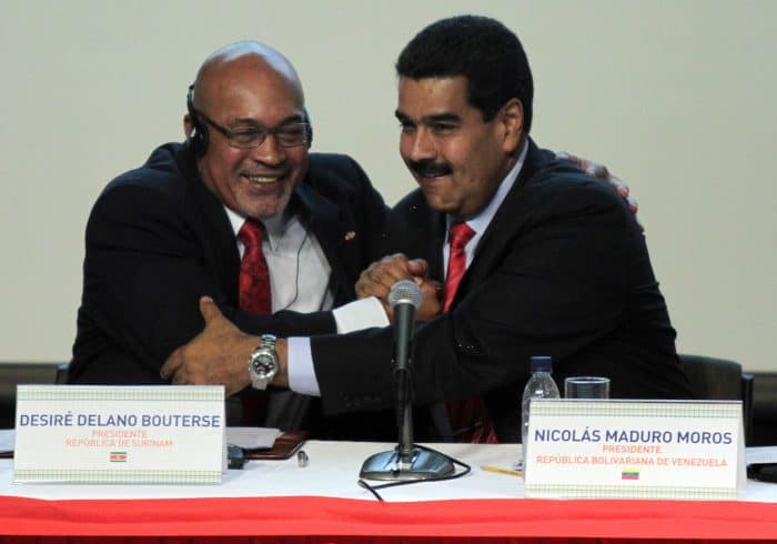 Suriname President Desiré Delano Bouterse and Venezuelan President Nicolás Maduro in 2013.