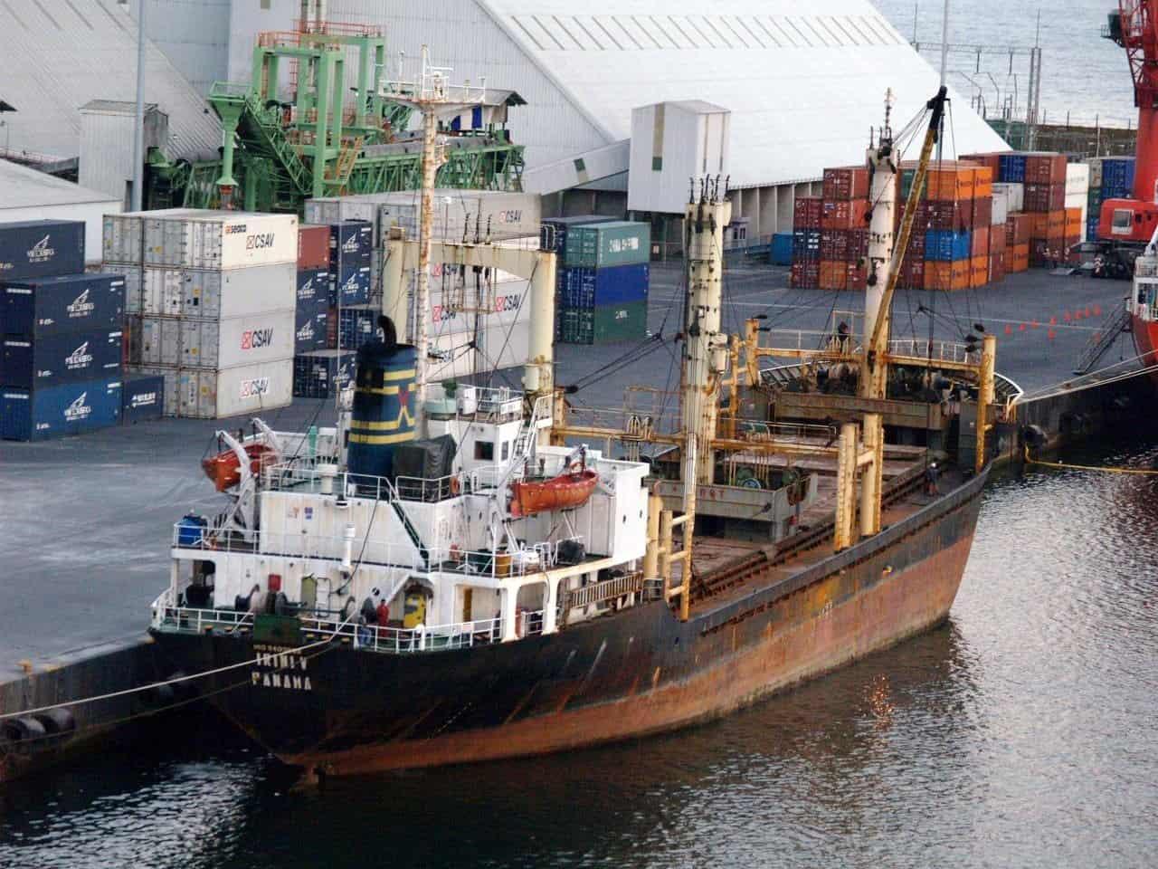 A ship docked at Guatemala's Puerto Quetzal.