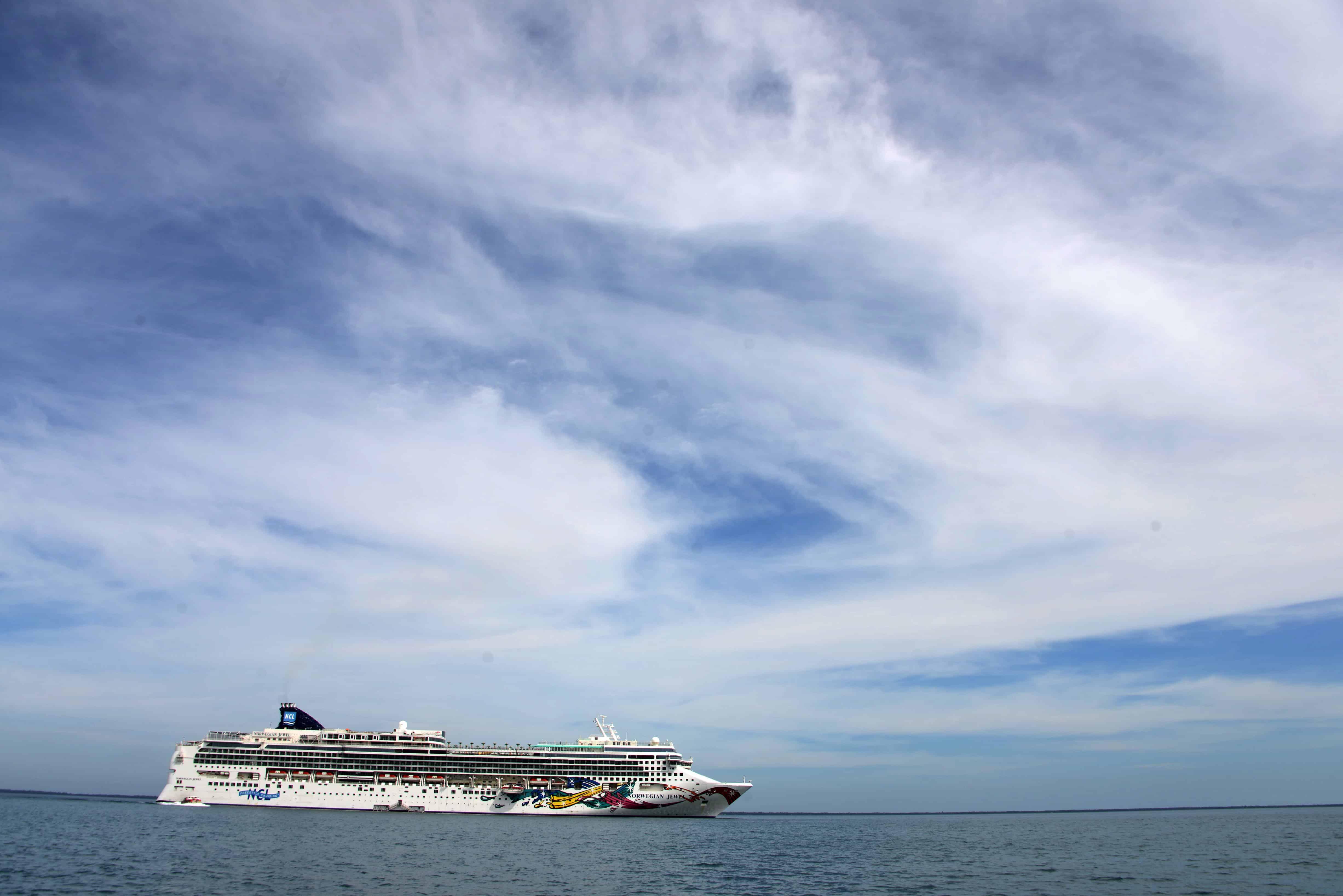 A cruise ship approaches Trujillo, Honduras.