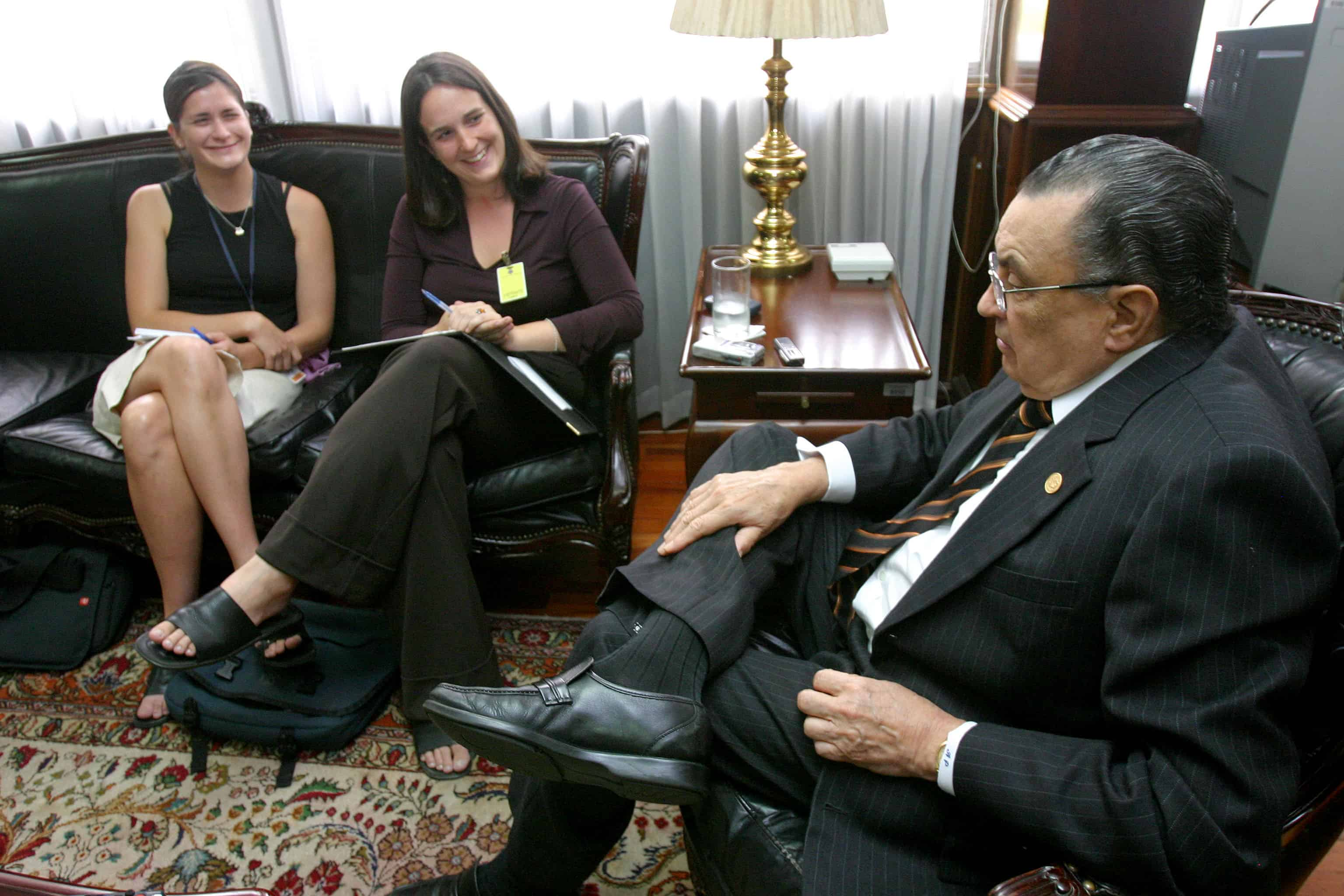 Reporter Rebecca Kimitch (left) interviews outgoing President Abel Pacheco for The Tico Times in 2006.