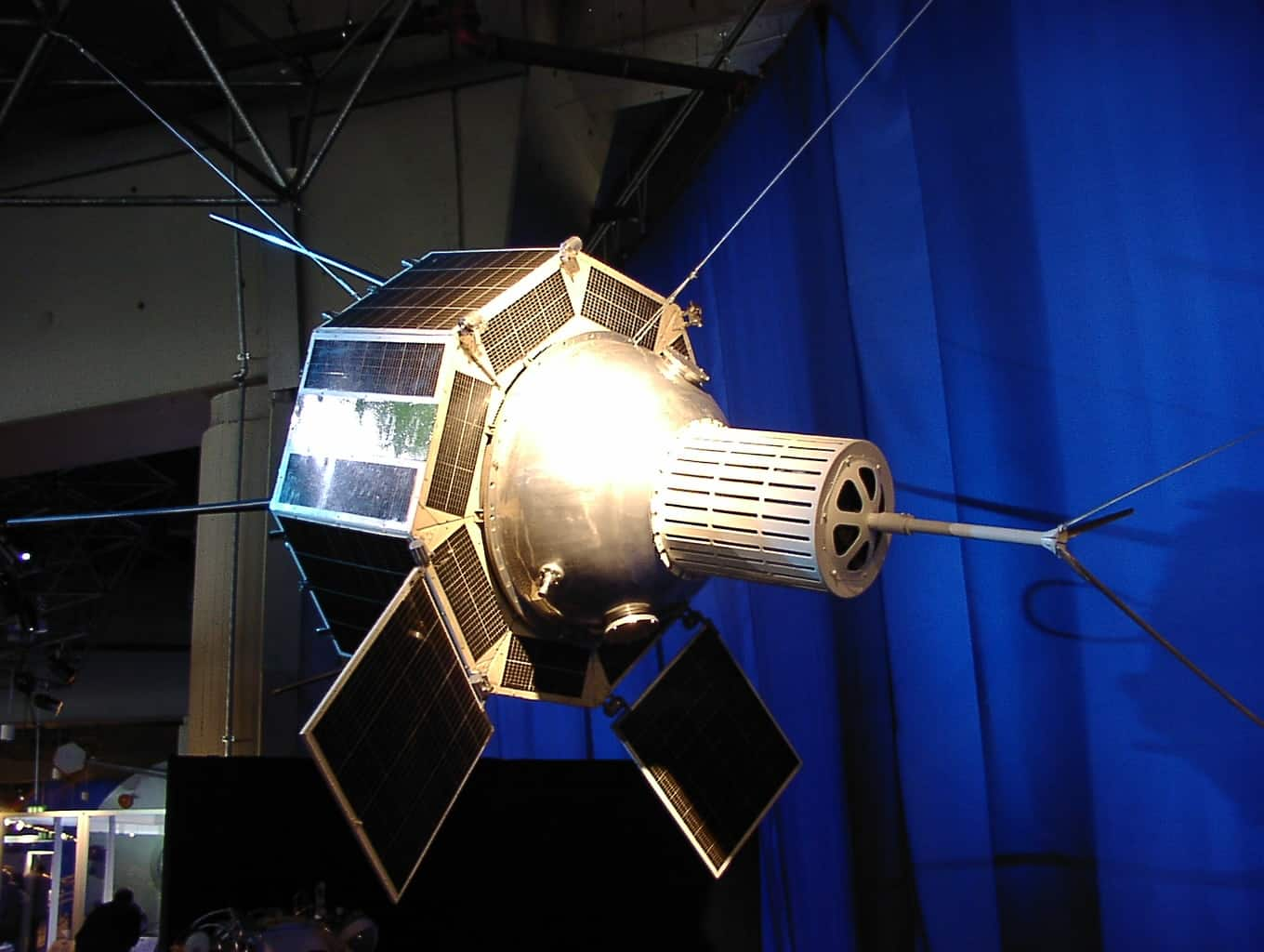 "Russian/soviet research satellite. Photo taken at the ""Russia in Space"" exhibition, airport of Frankfurt, Germany, 2002."