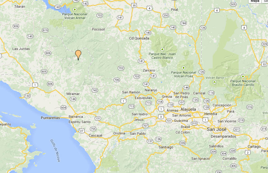 Map pinpointing the 5.0 quake that hit Costa Rica at 1:33 a.m. on April 28, 2015.