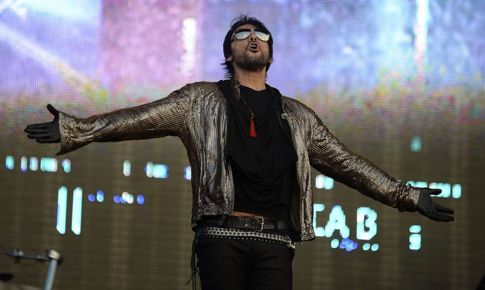 Beto Cuevas of Chilean rock band La Ley performs during the fourth day of the Vive Latino music festival at the Foro Sol in Mexico City, on March 30, 2014.