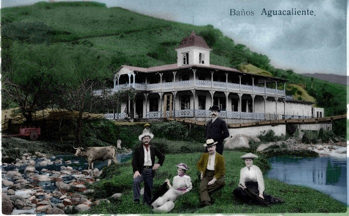 An old postcard shows the Bella Vista Hotel at the site of hot springs south of Cartago.