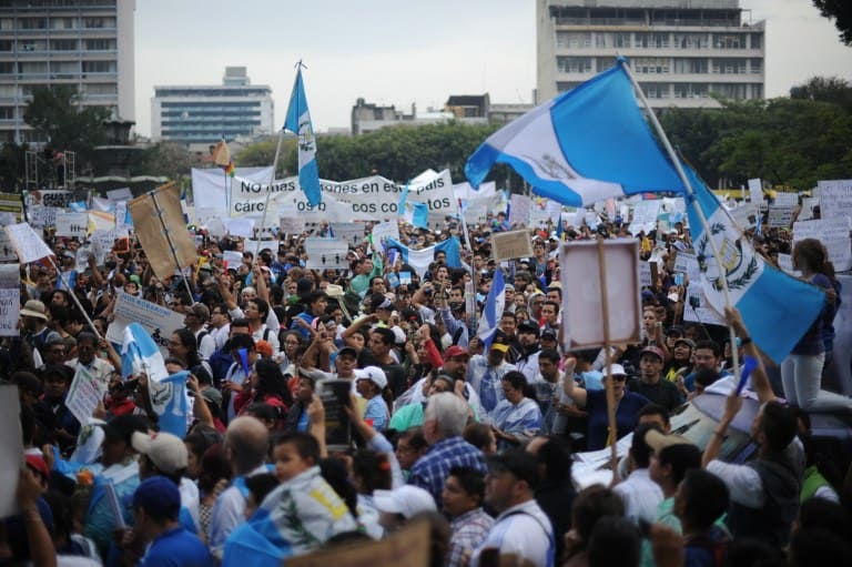 People gathered at Constitution Square in Guatemala City to demand the resignation of President Pérez Molina.